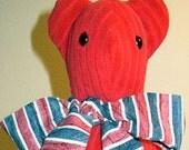 Red Velour Soft Sculpture Teddy Bear OOAK