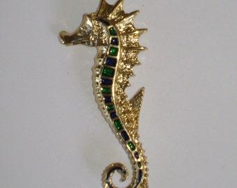 Vintage Enamel Seahorse Pin/brooch Signed Gerrys