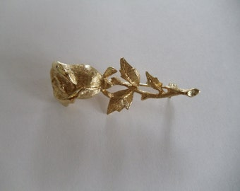 Vintage Goldtone Rose  Pin  Signed New View
