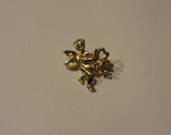 Vintage Goldtone CUPID CHERUB  Pin  Signed New View