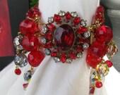 RESERVED...Vintage Assemblage Statement CUFF Bracelet - GLASS - Vintage Repurposed RhinestoneTONE Clasp-