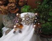 RESERVED...Repurposed Vintage CUFF Bracelet-  Rhinestone- Glass- Mother Of Pearl- Bling Bling Bonanza