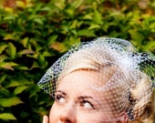 "JAPAN RELIEF - Birdcage Veil - classic 9"" veil in White, Ivory or Black. The Alexandra - Made To Order."