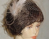JAPAN RELIEF - Champagne Birdcage Veil with Ostrich Feather Fascinator Ready to Ship