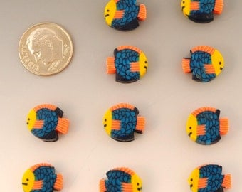 50 Handmade Polymer Clay Fish Beads
