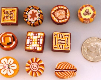 50 Hand-Made Polymer Clay Beads in Earth Tones