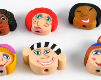 Polymer Clay Face Beads