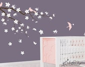 Nursery Wall Decals. Contemporary branch wall decal with blowing flowers and birds decals. Tree wall decal for baby nursery.
