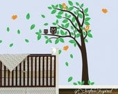 Wall Decal Nursery Tree with Owls and Birds