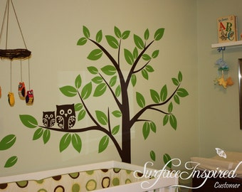 Nursery Wall Decals - Cute Owl Tree Wall Decal for Nursery. Tree wall decal with owls for boys and girls rooms.