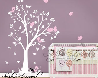 Nursery Wall Decals - Baby garden tree wall decal for boys and girls nursery. Tree wall decal with flying birds.