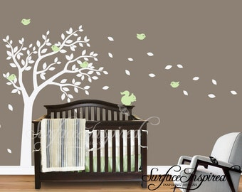 Nursery Wall Decals Large Tree wall decal Wall Mural Stickers Nursery Tree and Birds Wall Art Tattoo Nature Wall Decals Decor