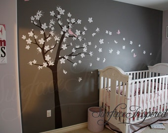 Wall Decals for Nursery. Contemporary Tree Decal with blowing flower decals. Birds and butterflies included. Tree Wall Decal for baby.  1014