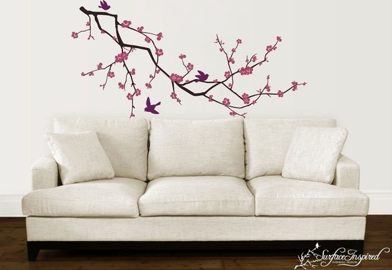 Vinyl wall art decals - Pink Cherry Blossom Branch Decal - Inspiring Wall Decals
