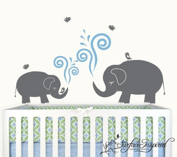 Wall decal nursery elephant decal for Elephant mural nursery