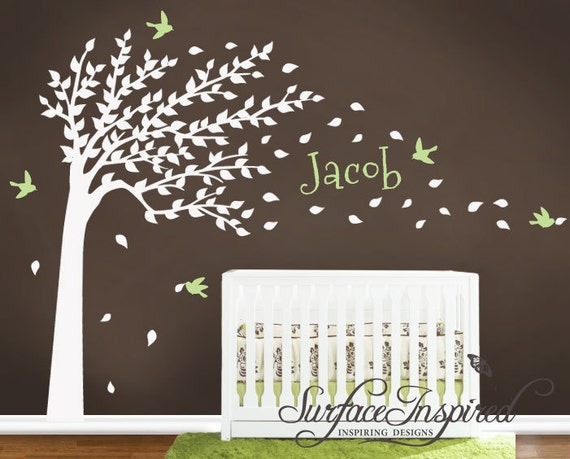 items similar to wall decal nursery tree decal with personalized name on etsy
