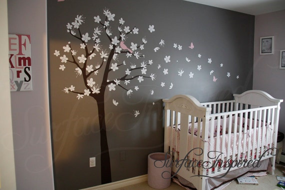 Nursery wall decals for boys or girls room. Large cherry blossom tree wall decal with birds and butterflies. Get custom colors at no charge!