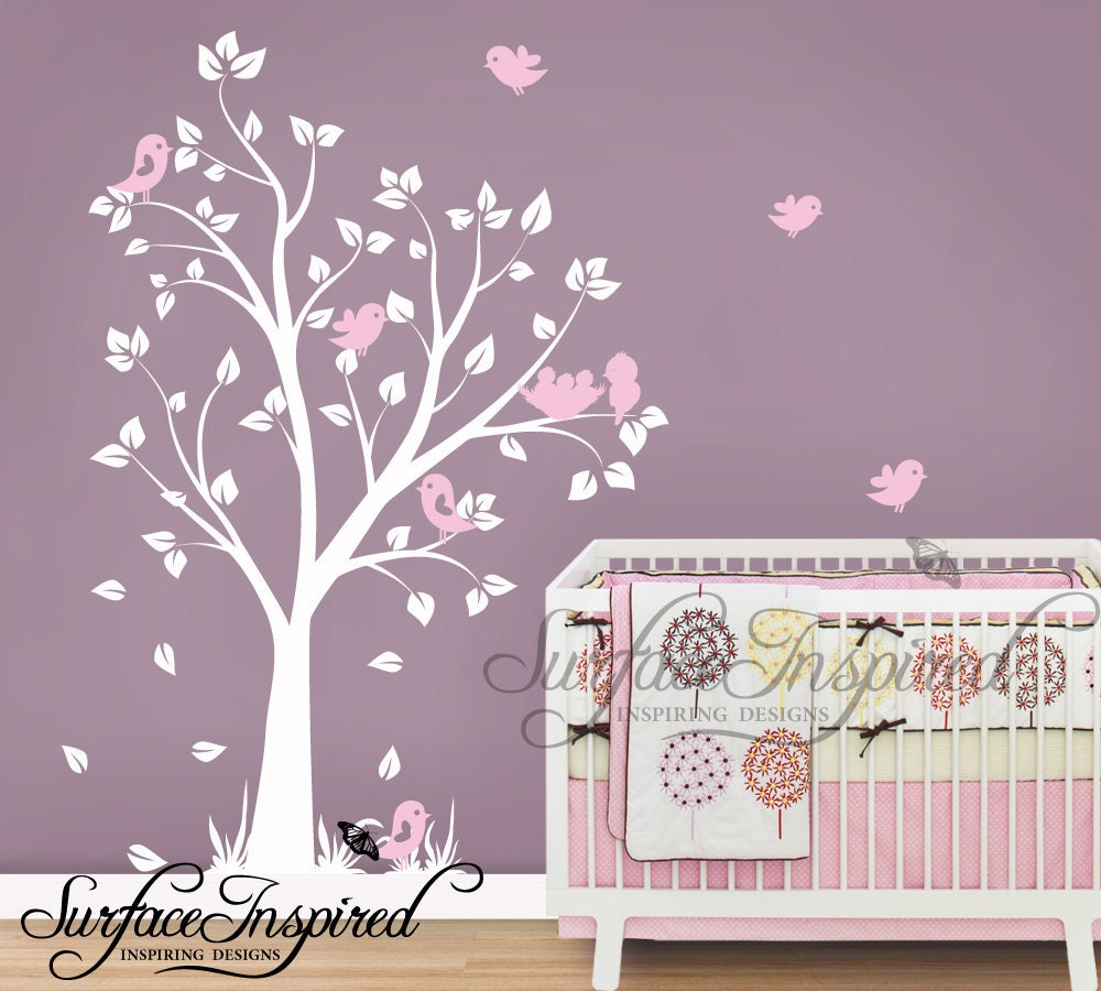 Nursery wall decals baby garden tree wall decal for boys and for Baby girl wall decoration