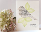 Birthday Card for a Jane Austen fan - bird cut from vintage copy of Pride and Prejudice, hand stamped