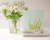 Handmade Greeting Card - vintage music and tulips, aqua, green, ivory, Alleluia, spring, pastel, summer, birthday, Mother's Day, graduation