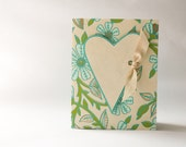 Handmade Card - heart, ribbon, floral - ivory, lime, turquoise, metallic gold -  wedding, birthday, anniversary, graduation