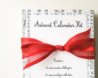 Advent Calendar -- 25 miniature Christmas envelopes -  music, books, clothespins, bakers twine, garland, holiday decor