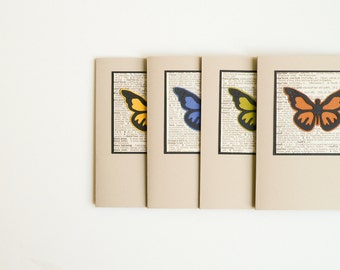 Hostess Gift - Teacher Gift - Handmade Card Set - Blank Note Cards - Butterfly, vintage paper, dictionary, stationery set