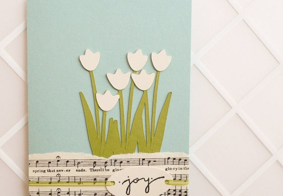 Handmade Greeting Card - music and tulips, robins egg blue, green, ivory, garden, spring, pastel, summer, birthday, graduation, wedding