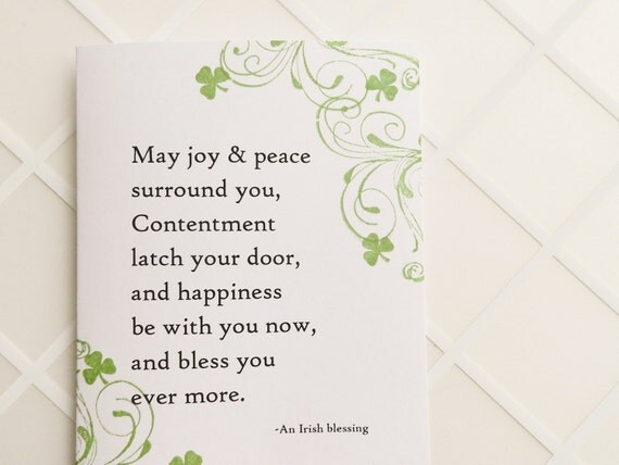Irish Blessing Handmade Card - shamrocks, Wedding, Anniversary, white, black, green, swirls