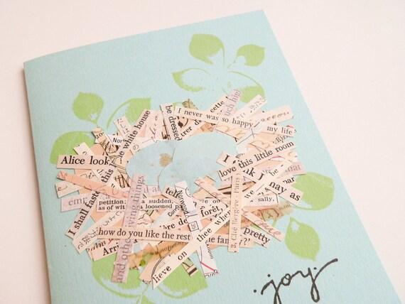 Joyful Nest Handmade Greeting Card - perfect for a baby, new home, birthday - collage, nest, eggs, joy, text, aqua