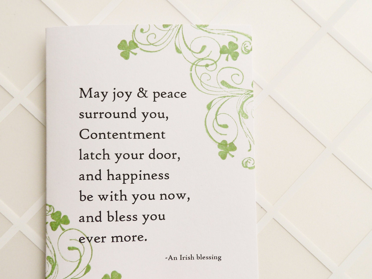 Irish Blessing Handmade Card Shamrocks Wedding