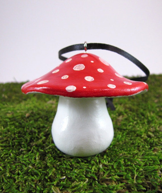 Reserved for Carter    -   Red Toadstool Christmas Ornament