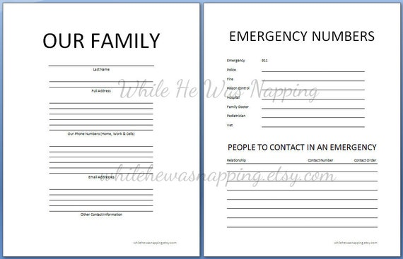 Deal of the day family organization binder printables for Important numbers template
