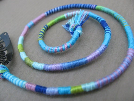 Colorful hairwrap extension - Garden Nymph - removable hair wrap dread clip