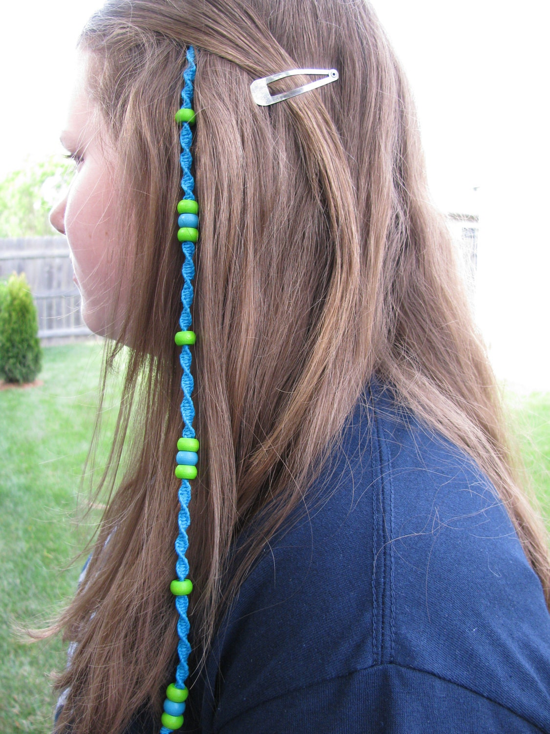 Hemp Hairwrap Extension Removable Atebas Beaded Turquoise