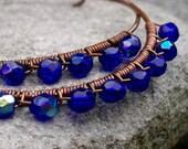 SALE Handmade hoop earrings in copper oxide and cobalt blue glass faceted beads  - Dusk