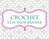 Custom Premade Etsy Shop Banner. Crochet Lace Aqua and Honeysuckle Pink Accents on Gray Lace. Graphic Design Digital Shop Makeover Series.