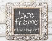 Etsy Shop Banner Set. Chalkboard. Barn Wood. Lace Ribbon. Vintage Frame. Boho Farmhouse Chic Digital Makeover Series.