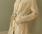 RESERVED for WILLOWGREENE  Vintage 70s Wool Chunky Cable Handknit Long Sweater Jacket S/M