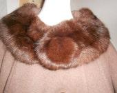 Womens Coats Womens Dress Coat Womens Wool Coat Brown Wool Coat Mink Fur Collar Coat Fur Pom Pom Swing Coat Womens Vintage Clothing