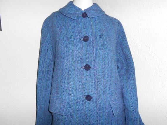 "Blue 60's Women's ""HARRIS TWEED"" Coat Womenswear Clothes Outerwear Scotland"