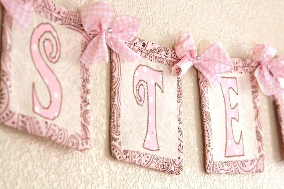 Chic, boutique Custom Name fabric banner, horizontal, rhinestone and bow design: Reserved for Hillary