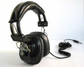 vintage 70s great big black headphones