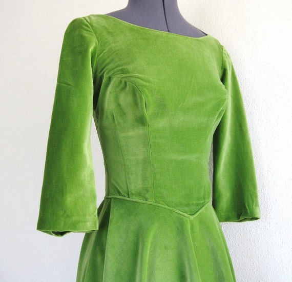 vintage 50s sage green cotton velveteen party dress XS 32B