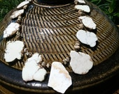 White Turquoise and Bronze Crystal Necklace
