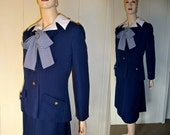 Vintage Navy Blue Dress with Jacket and pussy bow, Medium to Large