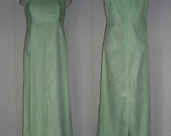 Vintage mint green Sleeveless Swiss Dot Maxi Dress