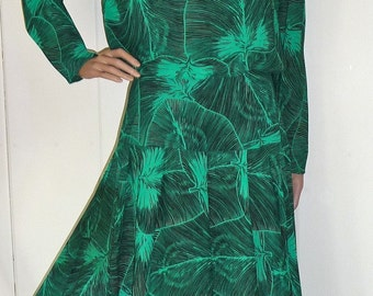 Vintage Green and Black Secretary Day Dress