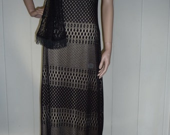 Vintage black lace column dress with tie, size 10