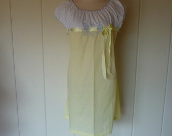 Vintage yellow and white cotton nightie from schrank, Small Petite